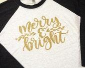 Merry & Bright gold glitter black/heather white 3/4 sleeve unisex raglan tee