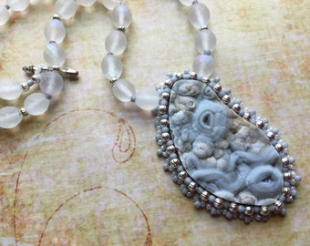 Natural Druzy - Bead Embroidery Necklace  - Bold Necklace - Gray Stone - Unique Necklace - Hippie Pagan Natural Wedding Bridal Jewelry
