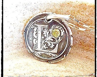 Handmade Wax Seal Jewelry Sterling Silver Initial ~ Large Pendant~~ Birthstone Gift Wax Seal Necklace, YourDaily Jewels ~ Jewellery