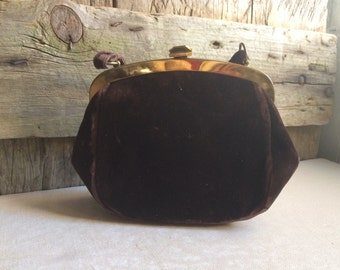 Brown Velvet Satin Lined Evening Bag Vintage Handbag
