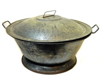 Large Antique Tin Bread Dough Bowl with Lid