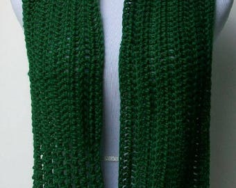 Caron Simply Soft Green Scarf, Green Crochet Scarf, Handmade Neck Warmer, Crochet Neck Dress, Green Scarf, Handmade Scarf, Simple Scarf,