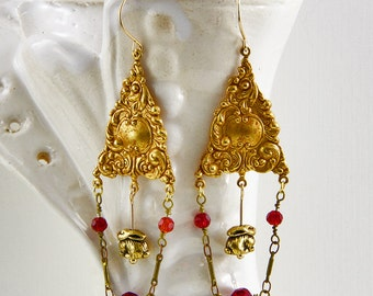 Handmade Russian Gold Plated Brass Art Nouveau Rabbit And Chain Earrings With Gold  Filled Hooks  3 Inches Long Oscarcrow