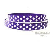 10 Yds WHOLESALE 7/8 Inch Purple Jumbo Polka Dot grosgrain ribbon LOW SHIPPING Cost