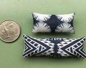 Dark Blue Batik Style Pillow Pair - Dollhouse Size