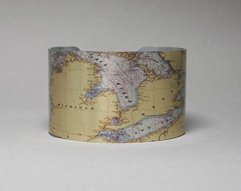 Great Lakes Nautical Map Cuff Bracelet Unique Gift for Men or Women
