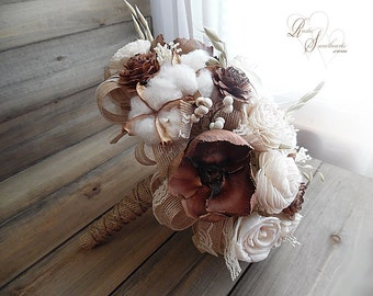 Ready to Ship ~ FREE Priority Mail Shipping! ~~~ Large Rustic Woodland Bridal Bouquet, Cedar Roses, Palm Flowers, Sola & Cotton Bolls.