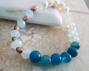 Protection Bracelet with Crystal Rondelle, Freshwater Pearls, Blue Agate and, Copper Beads Stretch Bracelet/ Gemstone
