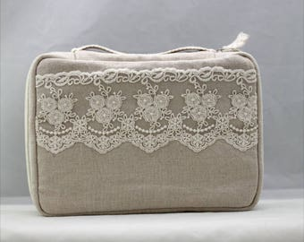Lace Book cover, Hobonichi cover handle bible cover Journal Cover with fine  lace detail ,linen,cotton, custom made,