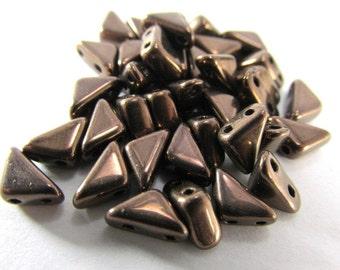 Dark Bronze Two Hole Czech Glass Triangular Tango Jewelry Beads (25)