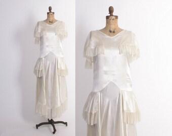 Vintage 20s WEDDING DRESS / 1920s White Satin & Net Lace Bridal Gown S