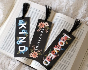 Bookmark Set - Inspirational Bookmark Set - Booklover - Bibliophile - Reader Gift - Floral Bookmark - Bookclub Gift - Book Lover