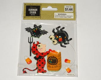 Scrapbook Embellishment Stickers Halloween Devil Spider Candy Corn Bat