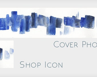 Blue Abstract Watercolor Cover Design with Icon - Abstract Blank Etsy  Shop Banner Without Text - Make Your Own Etsy Shop Design