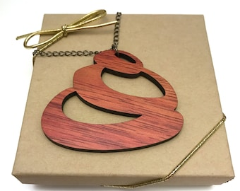 Bloodwood Circle Necklace, Laser Cut Necklace, Gunmetal Chain