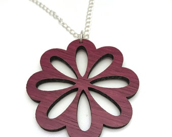 Purpleheart Wood Flower Necklace, Laser Cut Necklace, Silver Chain
