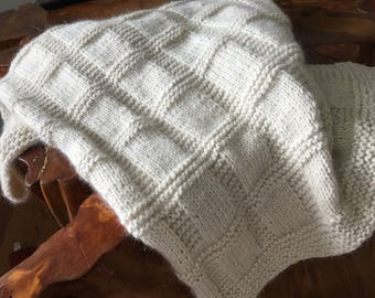Baby Alpaca knitted baby blanket.