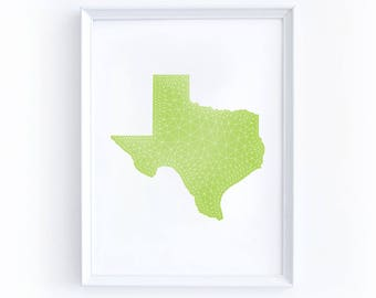 Printable Texas Map - Digital Download, Eight by Ten Inches, Geometric, TX, Green, Lime, Bright, White, Illustration, State, Home, Southwest