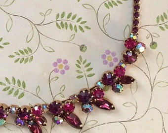 Weiss Necklace Purple And Pink Rhinestone