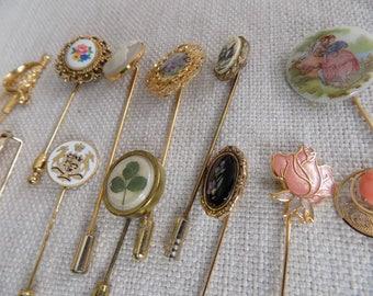 Vintage brooches,12 piece  floral, cameo,Fragonard,petit point,clover stickpin lot ,retro jewelry, figural pins, destash jewelry