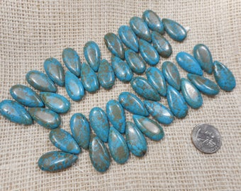 Turquoise Magnasite Teardrop 30mm x 15mm Beads 6 1/2 in. Strand 20 beads per strand  M15