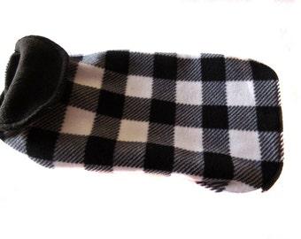 dog coat, S/M dog coat, check plaid dog coat, fleece dog coat, pet coat- dog jacket – back length 13 1/2 in. (34 cm )