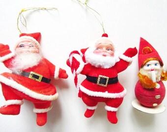 2 Flocked Santas & Spun Cotton Elf Vintage Ornaments