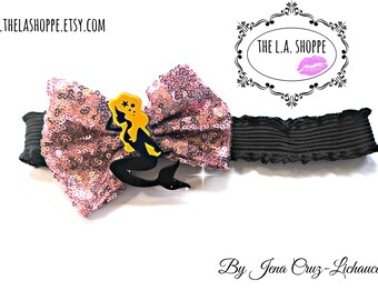Pink Sequin Bow Mermaid Queen Stretchy Headband