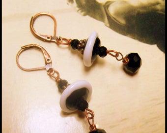 Downton Abbey Black and White Earrings, Roaring Twenties, Vintage Titanic Earrings, Black & White Art Glass Earrings, Saucer Earrings
