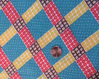 Vintage Feedsack 1950s Feedsack Fabric Vintage Quilting Fabric Tiny Floral Geometric Red, Turquoise, Brown and Yellow Colors