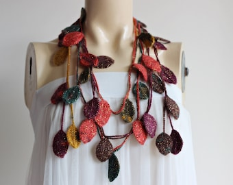Leaves Necklace Scarf-Multicolor Scarf-Necklace Lariat Scarf-Crochet Scarf with Gold Glitter-Autumn  Scarf-Plum Red Mustard Teal Brown Scarf