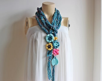 Teal Crochet Scarf-Lariat Necklace Scarf- Teal Aqua Pink Yellow Scarf-Flowers and Leaves Scarf-Hippie Scarf-Vegan Scarf