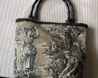 Vintage Toile Purse Bag Shabby Chic French Accessories Rue23paris Collectibles We Ship Internationally