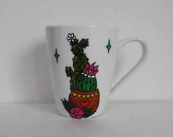 Wondeful handpainted Cactus on white mug