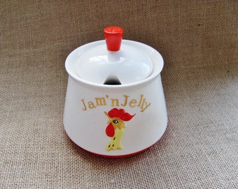 Vintage Holt Howard Jam 'n Jelly Jar With Lid Coq Rouge Rooster 1962 Hard To Find Covered Condiment Set