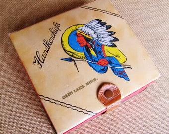 Handkerchief Souvenir Box From Cass Lake Minnesota Made From Paper Board Native American Design