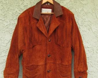 mens womens unisex super soft contrast collar fringe suede leather jacket