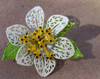Vintage Enamel White Flower Pin/Brooch, Spring or Summer Wear, Floral Jewelry, White Flower with Yellow & Black Center and Green Leaves