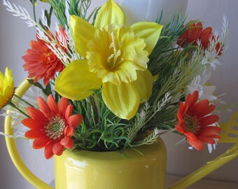 Spring Floral Arrangement, Gift Arrangement, Yellow Watering Can, Butterfly, Orange, White, Yellow Centerpiece, Wreaths, Gifts