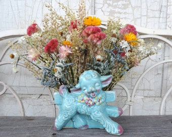Dried Flower Bouquet Floral Arrangement 50's Pottery Lamb in Blue  Pink Strawflowers Planter Vase Nursery Free Lavender Sachet with Order