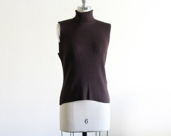 Vintage Chocolate Brown Ribbed Sweater Top / Sleeveless Sweater
