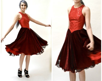 Vintage Prom Dress Red and Black Size Small// Vintage 80s Prom Dress Small// Vintage 80s Metallic Dress Swing Dress Red and Black