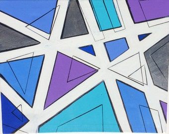 Untitled (Cool Toned Geometry) -FREE SHIPPING!