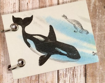 Recycled  Notebook - Upcycled Children's Book - Blank Tablet - Refillable Notepad - Orca - Liller Whale