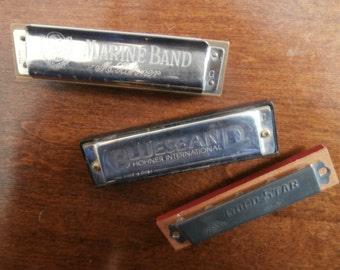 Set 3 Harmonicas Vintage