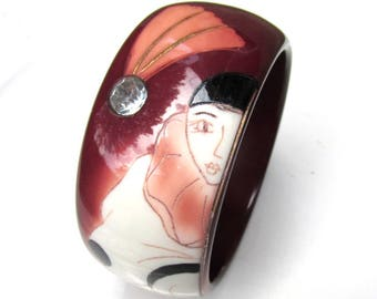 1920s Pierrot Celluloid Bangle Bracelet with Rhinestones VINTAGE FRENCH Painted Bracelet