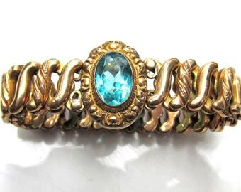 Antique Victorian Bracelet with Teal Rhinestone - Gold Filled Expandable Stretch Bangle - Estate Jewelry