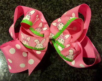"""Two layer easter bunny bow  4.5"""" long very full and pretty bright pinks"""