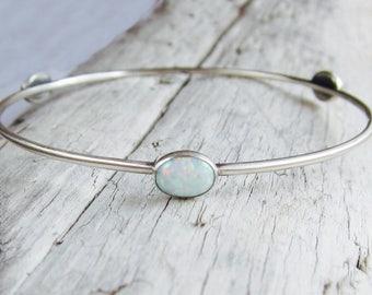 Opal bangle. Silver bangle. Gemstone bangle. Birthstone bracelet.