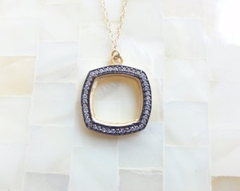 Square CZ Pave Vermeil Pendant on Gold Chain Necklace (N1762)